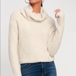 FREE PEOPLE STORMY CREAM COWL NECK SWEATER TOP